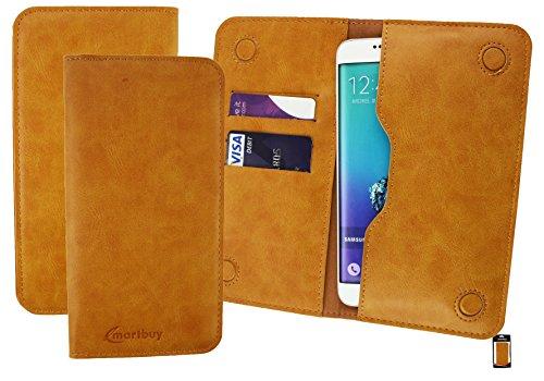 Emartbuy Turquesa Cuero PU Magnética Delgada Funda Carcasa Case Tipo Bolsa ( Talla 5XL ) apto para Elephone S7 Tan Magnetic Wallet