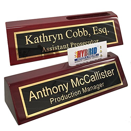 Personalized Desk Plaques - Personalized Business Desk Name Plate with Card Holder - Includes Engraving &