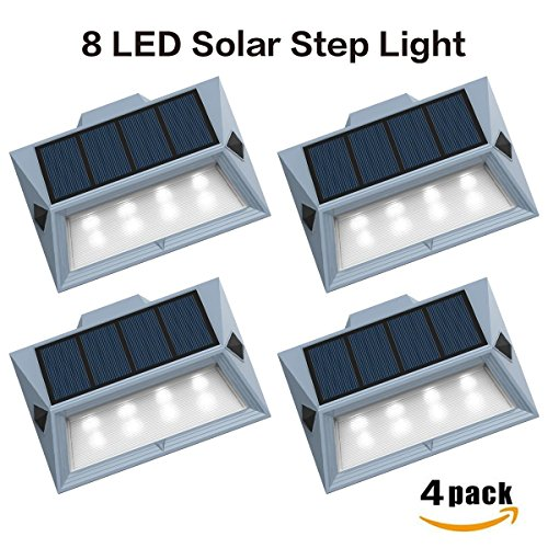 【Newest Version 8 LED】Solar Stair Step Lights Outdoor Decorative Solar Deck Lights Wireless Waterproof Lighting for Garden Wall Paths Patio Decks Auto On/Off 4 Pack (Solar Steel Post)