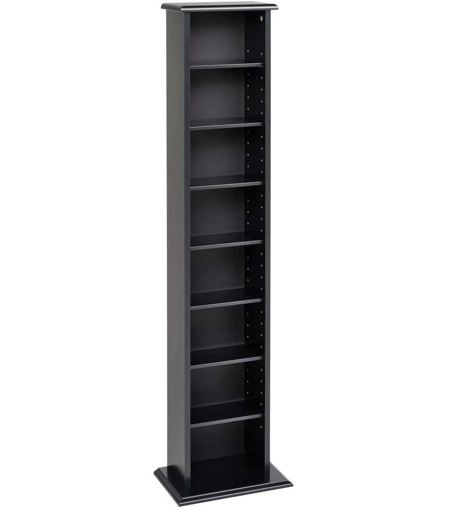 MD Group Slim Multimedia Storage Tower, 13'' x 51'' x 8.75'' x 28 lbs, Black