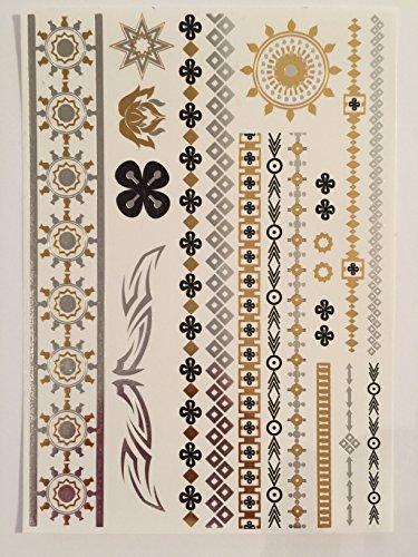Métalliques tatouages temporaires (4 protocoles d assorties) - Belle Tattoo Flash & Body Art - Black, Silver & Gold Tattoo Bijoux - design tendance de tatouage - bagues, bracelets, colliers, Plumes, croix et plus | Minets Designs | Chaque Page Est: 8,2