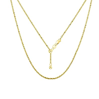 89d87cf61351aa Amazon.com: Sterling Silver 1.7MM Adjustable Sparkle ROC Chain Necklace -  Thin Adjustable Necklace in 2 Colors (Gold): Jewelry