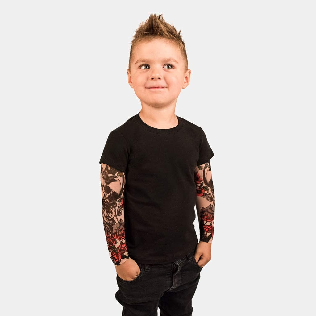 1-6 Years,SO-buts Kids Toddler Baby Kids Boys Sleepwear T-Shirt with Mesh Tattoo Printed Long Sleeve Floral Tee Tops Clothes