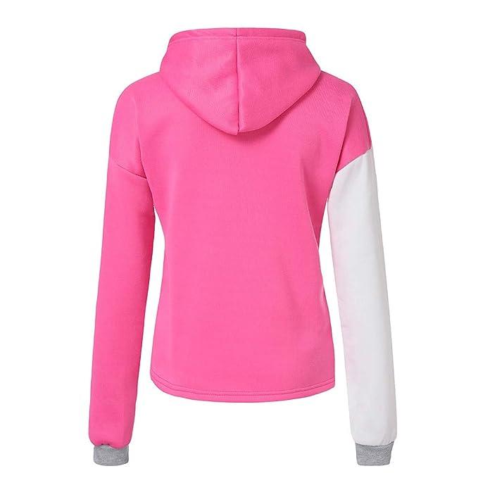 DOGZI Mujer Sudadera Otoño Color coincidente Encapuchado Manga Larga Sudadera Camisa de Entrenamiento Sudadera con Capucha Escote en V Suéter Camiseta ...