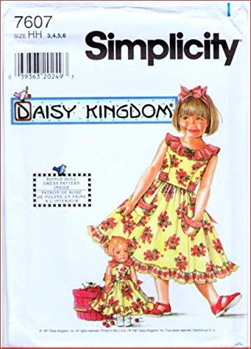 Simplicity Sewing Pattern 7607 ©1997 Daisy Kingdom Child's Dress and Doll Dress Size 3,4,5,6 (Daisy Kingdom Doll)
