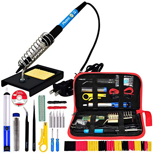 Soldering Iron Kit Electronics- 60 W Adjustable Temperature Welding Tool, Soldering Iron Stand, 5pcs Soldering Iron Tips Set, Desoldering Pump, Solder Wick, Tweezers, PU Carry Bag [110 V, US Plug]