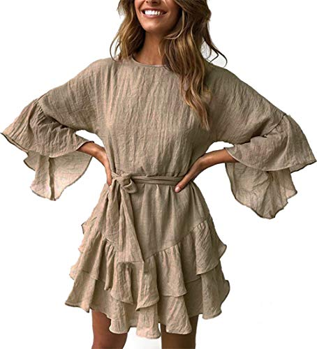 PRETTYGARDEN Women's Casual Solid Color O-Neck 3/4 Bell Sleeve Ruffle Swing A Line Mini Dress Sundress with Belt (Khaki, Small) Casual Hats Womens Clothing