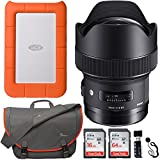 Sigma 14mm f/1.8 ART DG HSM Lens (for Canon EOS Cameras), LaCie Rugged Mini 1TB Portable Hard Drive, Sandisk Ultra SDXC 64GB, 16GB Memory Card, Lowepro Passport Messenger Bag and Accessory Bundle