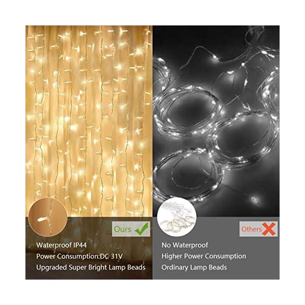 300 luci per tende a LED, 3 x 3 m,8 modalità, IP44 impermeabile, stanza, matrimonio, padiglione da giardino, Halloween,decorazioni natalizie [Classe di risparmio energetico A +++] 5 spesavip