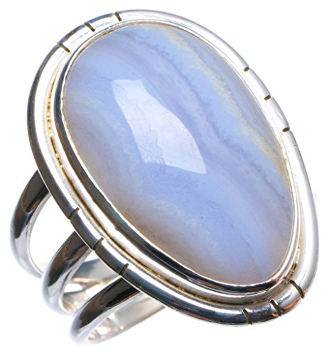 StarGems tm Natural Blue Lace Agate Handmade Unique 925 Sterling Silver Ring, US size 7.75 X 2252