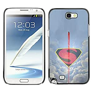 SAMSUNG Galaxy Note 2 II / N7100 , Radio-Star - Cáscara Funda Case Caso De Plástico (Minimalist Flying S Superhero)
