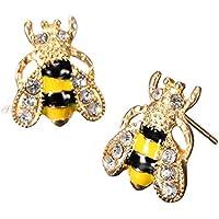 ERAWAN Fashion Animal Ear Stud Enamel Rhinestone Bumble Bee Crystal Earrings Jewelry EW sakcharn