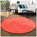 Superior 4RUG-SHAG-SC Area Rugs, 4' Round, Spiced Coral