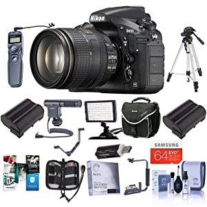 Nikon D810 Digital SLR Kit with AF-S NIKKOR 24-120mm f/4G ED VR Lens - Bundle with Camera Bag, 64GB Class 10 SDXC Card, 2x Spare Battery, 77mm Filter Kit, Cleaning Kit, Video Light, Tripod and More