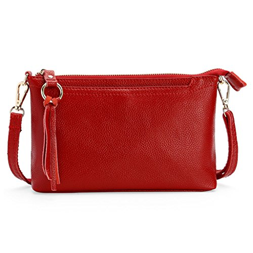 JAGENIE Mujeres Bolsas de Hombro Messenger Cartera de Cuero Crossbody Bolso de Moda Monedero Claret Rojo Rojo Clarete