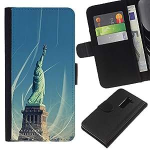 Ihec-Tech / Flip PU Cuero Cover Case para LG G2 D800 D802 D802TA D803 VS980 LS980 - Architecture Statue Of Liberty
