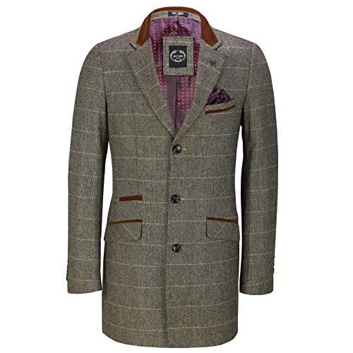 Mens 3/4 Long Overcoat Jacket Herringbone Tweed Check Retro Velvet Collar Tailored Fit Coat[Mason-Grey,52,Tan Check]