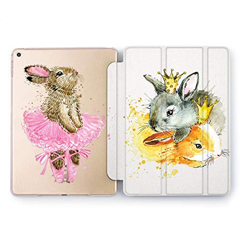 Wonder Wild King Rabbit iPad Case 9.7 Pro inch Mini 1 2 3 4 Air 2 10.5 12.9 2018 2017 Design 5th 6th Gen Clear Print Smart Hard Cover Crowned Animals Cute Bunny Dancing Ballerina Highness Fluffy (Dancing Bunnies)