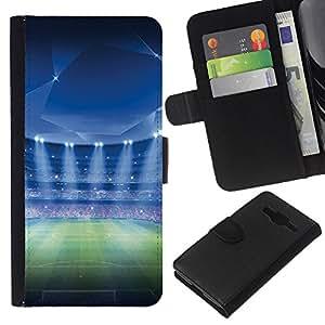 Protector de cuero de la PU de la cubierta del estilo de la carpeta del tirón BY RAYDREAMMM - Samsung Galaxy Core Prime - Estadio de fútbol