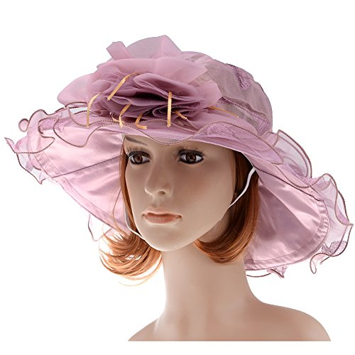 Vbiger Summer Women's Sunproof Large Brim Hat (Purple)