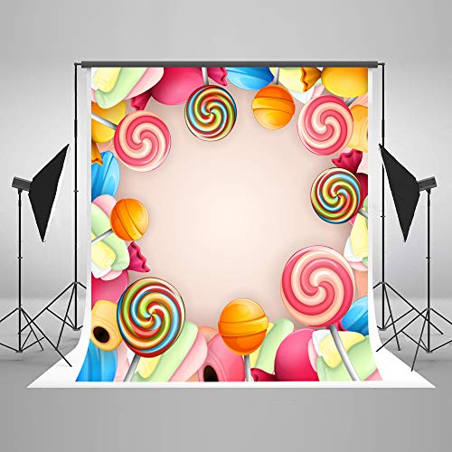 Candy Backdrop 5x7ft Sweety 16th Birthday Photo Background for Girls Customized Newborn Baby Lollipop Backgrounds Seamless Photo Backdrops with Names Add -