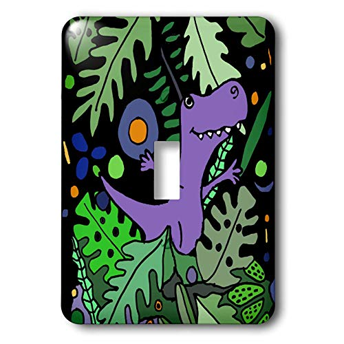 3dRose All Smiles Art - Animals - Cute Funny T-rex Dinosaur in the Jungle Cartoon - Light Switch Covers - single toggle switch (lsp_304401_1)
