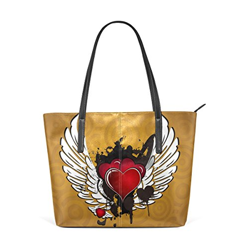 LEISISI Winged Heart Women's Leather Tote Shoulder Bags Handbags (Heart Winged Handbag)