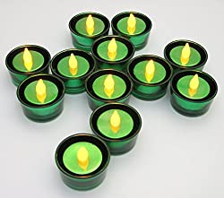 Metallic Green Flameless Tea Lights with Green Glass Tea Light Holders - Set of 12 - LED Flameless Tealights - St. Patrick's Day Decorations - St. Patrick's Day - Birthday Parties - Weddings - Restaurant - Promotional Events