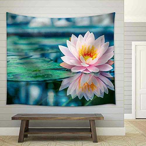 Beautiful Pink Lotus Water Plant with Reflection in a Pond Fabric Wall Tapestry