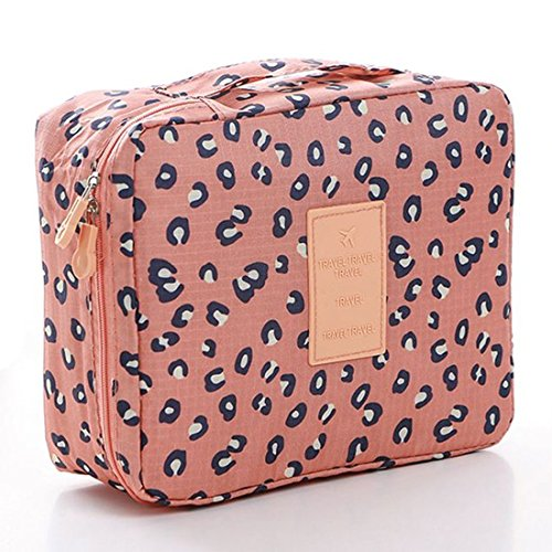 CalorMixs Travel Cosmetic Bag Printed Multifunction Portable Toiletry Bag Cosmetic Makeup Pouch Case Organizer for Travel (Leopard ()