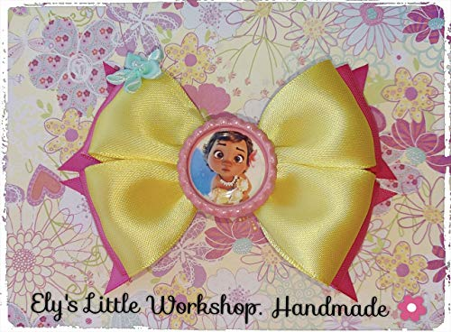 Moana, Disney inspired Baby Moana character, Hair Bow, 100% Handmade, French Barrette clip 1