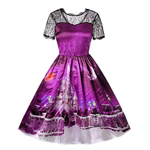 iYBUIA Christmas Party Dress Women Short Sleeve Lace Patchwork Printing Vintage Gown Party Dress -