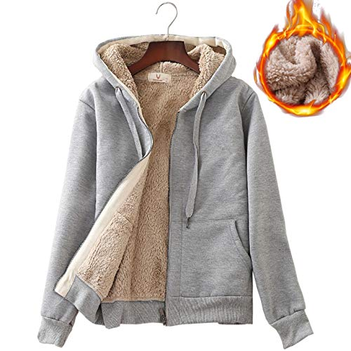 - Flygo Women's Classic Casual Thick Warm Full Zip Sherpa Lined Hooded Sweatshirt Jacket (Small, Light Grey)