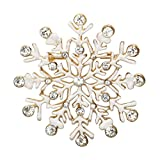 Rosemarie Collections Women's Rhinestone Accent Winter Snowflake Brooch Pin (Gold Tone)