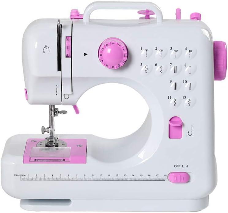 Máquina de coser Portátil eléctrico con pedal Overlock 12 puntos incorporados para aficionados principiantes bordado rosa seguridad