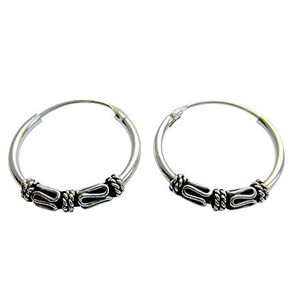 6d7314ff6 Sterling Silver 14 mm Bali Pattern Sleeper Hoop Earrings: Amazon.co.uk:  Kitchen & Home