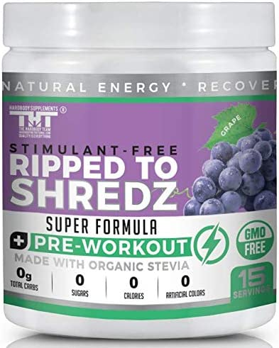 Ripped to Shredz Stimulant and Caffeine Free Preworkout for Men and Women with No Creatine Electrolytes and Organic Stevia for Clean Energy