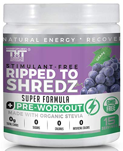 Ripped to Shredz Stimulant and Caffeine Free Preworkout for Men and Women with No Creatine | Electrolytes and Organic Stevia for Clean Energy |