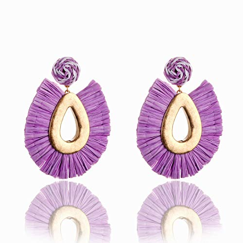 (YY Cherry Fashion Big Water Drop Worn Gold Plating Fringe Earrings Statement Earring,Purple)