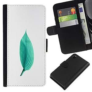 All Phone Most Case / Oferta Especial Cáscara Funda de cuero Monedero Cubierta de proteccion Caso / Wallet Case for Sony Xperia Z3 D6603 // Green Minimalist Leaf Nature