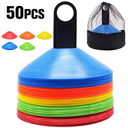 Yakun Soccer Cones for Kids Training with Carry Bag and Holder Football Sports Field Cone Markers Highly Visible Multicolor Cones Outdoor Agility Training Round Mark Disc(Set of 50)