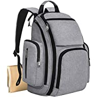 Mancro Diaper Bag Backpack, Organizer Baby Back Pack for Mom/Dad with Insulated Pockets, Changing Pad & Stroller Straps, Water Resistant Maternity Nappy Bags for Travel with Boys/Girls Care, Grey