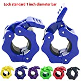 Greententljs. Standard Barbell Clamps Adjustable Quick Release Locking Barbells Pro Workout Professional Dumbbell Weights Collar Clips Lock 1'' Bar for Weightlifting (Blue)