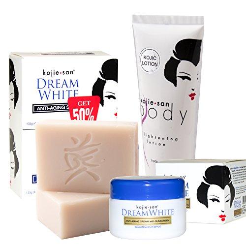 Kojie San Dream White Skin Whitening Total Skin Treatment Set, Includes Soap, Lotion, Cream