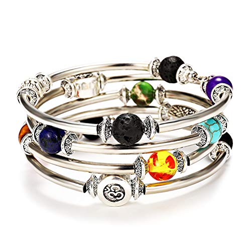 Lateefah 7 Chakra Beaded Bangle Wrap Bracelet - Fashion Bohemian Jewelry Multilayer Charm Bracelet with Thick Silver Metal Beads, Gift for Women Girls for Birthday Mother's -