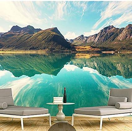 Weaeo Sfondi Murali Personalizzati 3d Paesaggio Hd Montagne Lago
