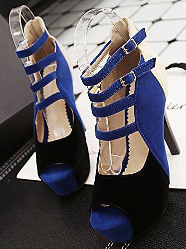 Easemax Kvinners Farge I Kontrast Titte Toe Plattform Høyt Stiletthæl Imitasjon Av Semsket Strappy Tvers Over Toppen Glidelås Opp Sandaler Blå