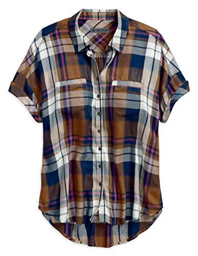 Harley-Davidson Women's Rayon Short Sleeve Plaid Woven Shirt 96175-18VW (L) Brown