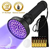 UV Flashlight- UV Black Light Flashlight 100 LED Lights -Powerful 395NM Ultraviolet Pet Urine Detector, Can Detect Pet Stains, Bed Bugs, Scorpions, Machinery Leaks,currency (Battery Included)