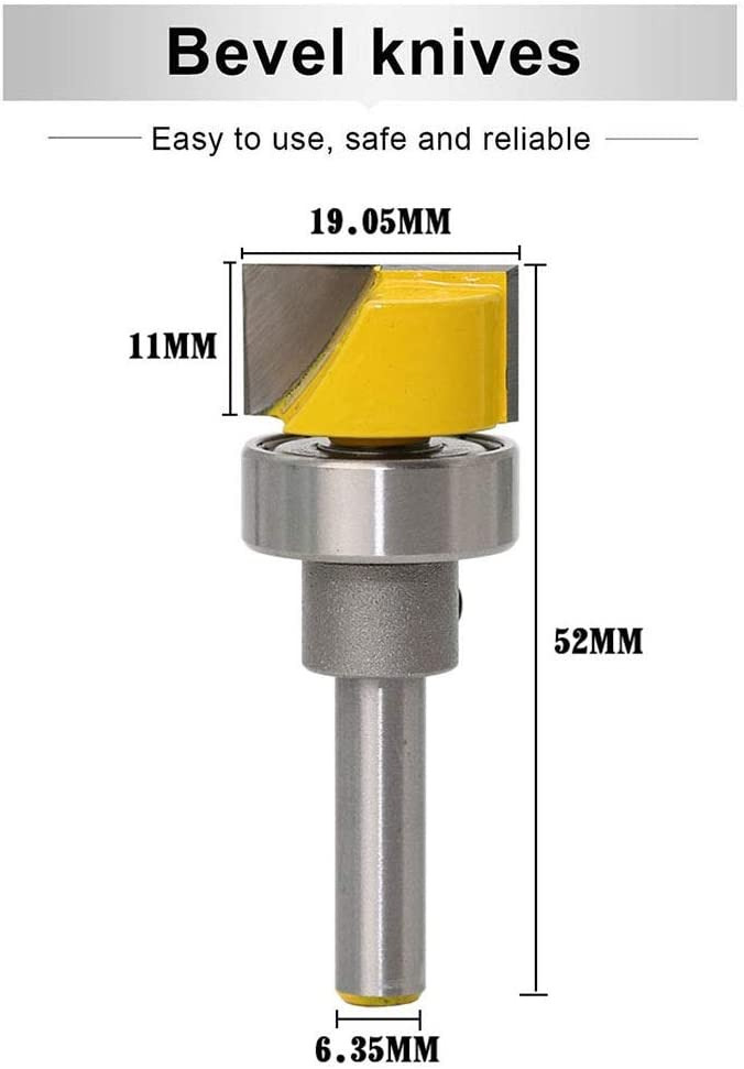 Tungsten Carbide with Bottom Bearing Woodworking Tools MMDSG Profession Flush Trim Template Router Bit 1//4 Inch Shank Straight Milling Cutter